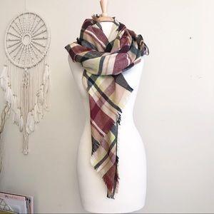 Oversized Plaid Blanket Scarf Wrap Shawl
